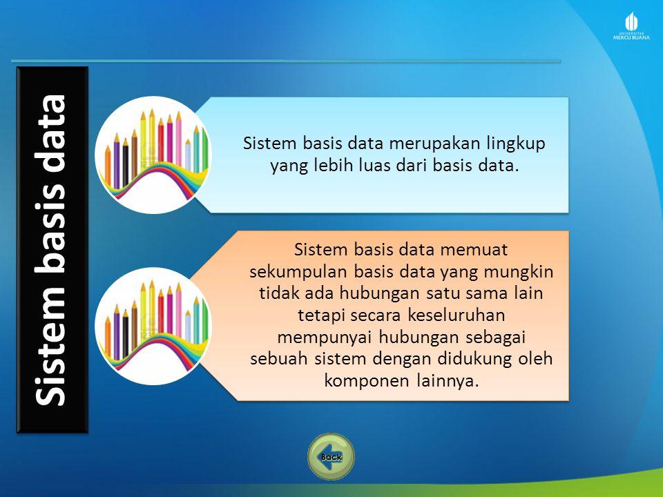 Sistem basis data merupakan lingkup yang lebih luas dari basis data.