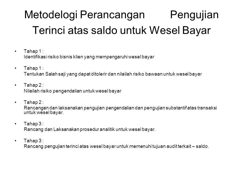 Metodelogi Perancangan Pengujian Terinci atas saldo untuk Wesel Bayar