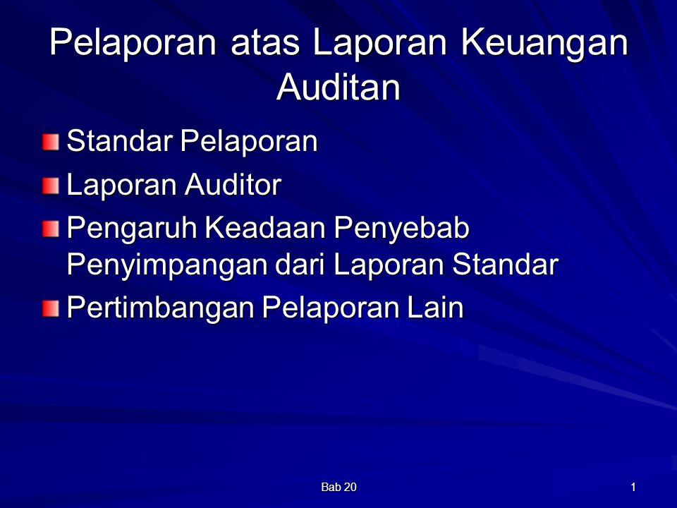 Pelaporan atas Laporan Keuangan Auditan