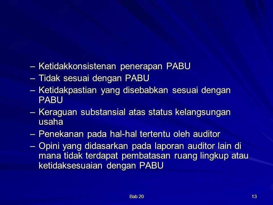 Ketidakkonsistenan penerapan PABU Tidak sesuai dengan PABU