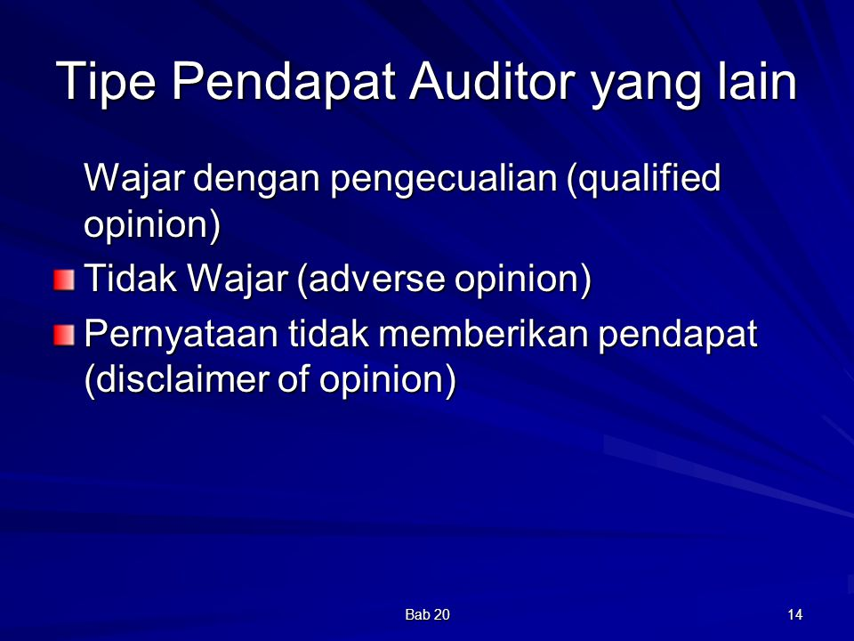 Tipe Pendapat Auditor yang lain