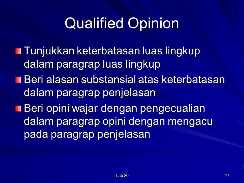Qualified Opinion Tunjukkan keterbatasan luas lingkup dalam paragrap luas lingkup.