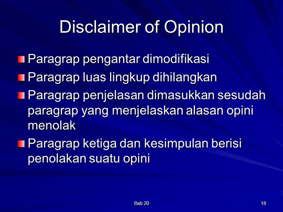 Disclaimer of Opinion Paragrap pengantar dimodifikasi