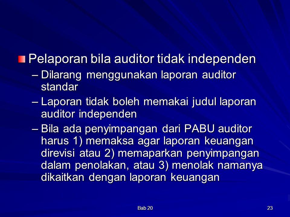 Pelaporan bila auditor tidak independen