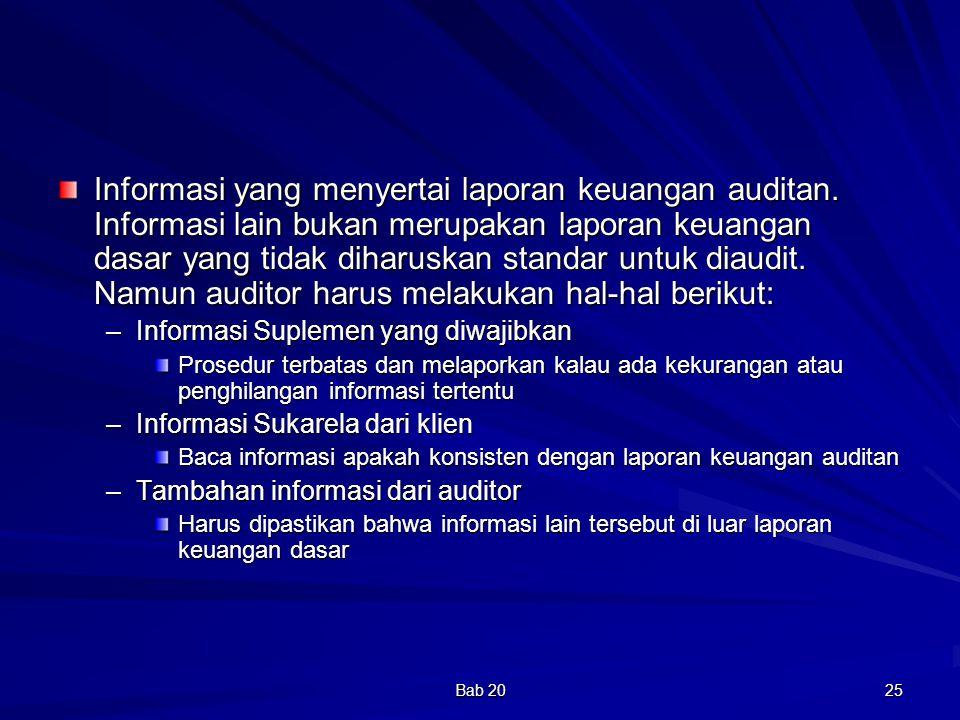 Informasi yang menyertai laporan keuangan auditan