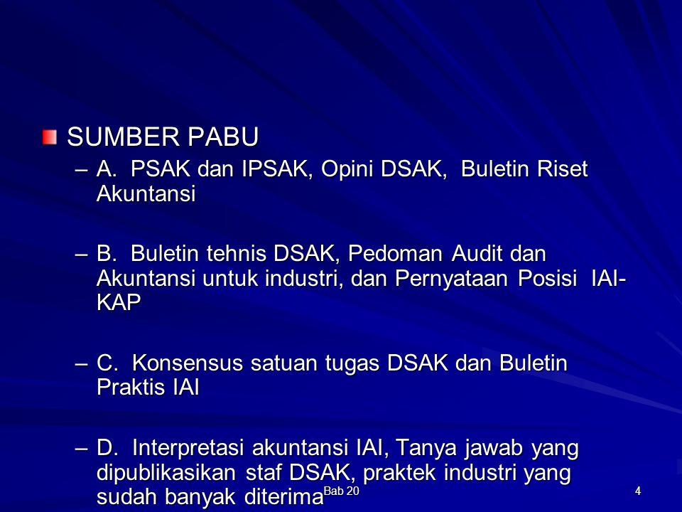 SUMBER PABU A. PSAK dan IPSAK, Opini DSAK, Buletin Riset Akuntansi