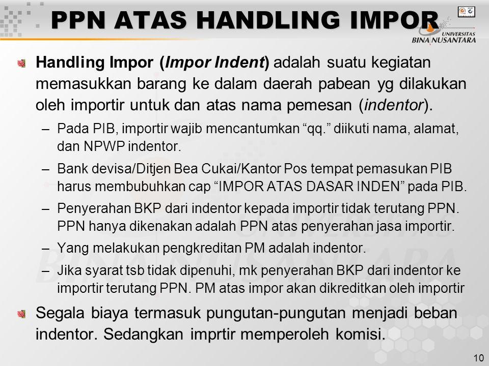 PPN ATAS HANDLING IMPOR
