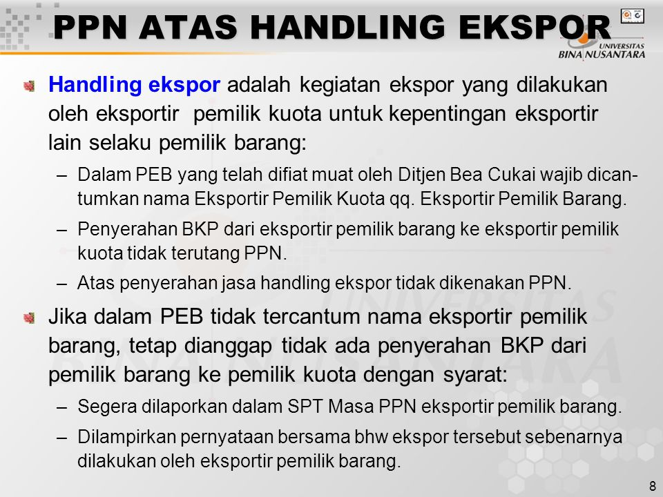 PPN ATAS HANDLING EKSPOR