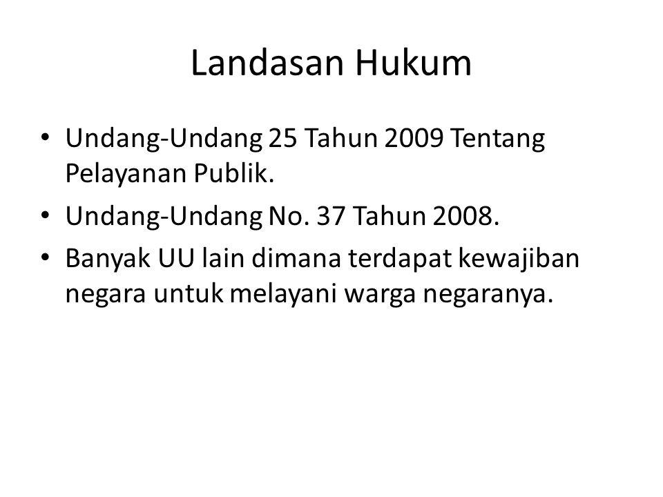 Landasan Hukum Undang-Undang 25 Tahun 2009 Tentang Pelayanan Publik.