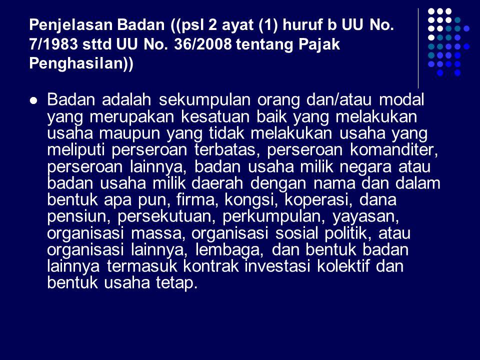 Penjelasan Badan ((psl 2 ayat (1) huruf b UU No. 7/1983 sttd UU No