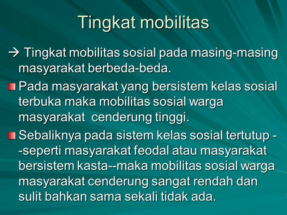 Tingkat mobilitas  Tingkat mobilitas sosial pada masing-masing masyarakat berbeda-beda.