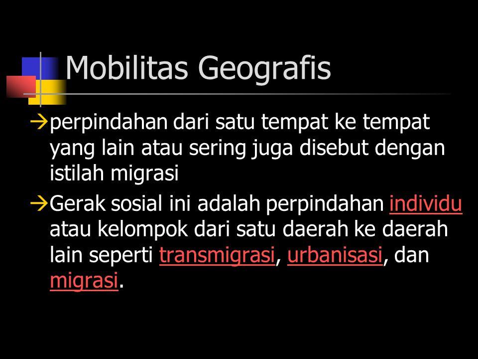 Mobilitas Geografis perpindahan dari satu tempat ke tempat yang lain atau sering juga disebut dengan istilah migrasi.