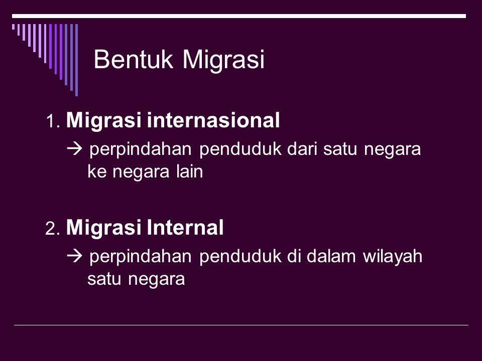 Bentuk Migrasi 1. Migrasi internasional