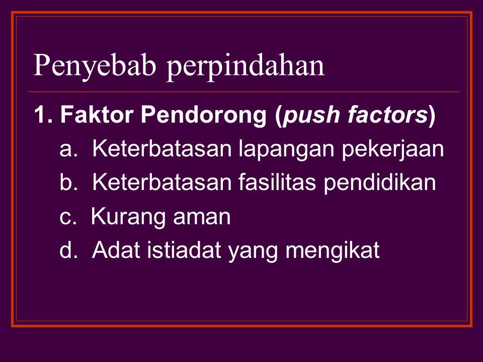 Penyebab perpindahan 1. Faktor Pendorong (push factors)