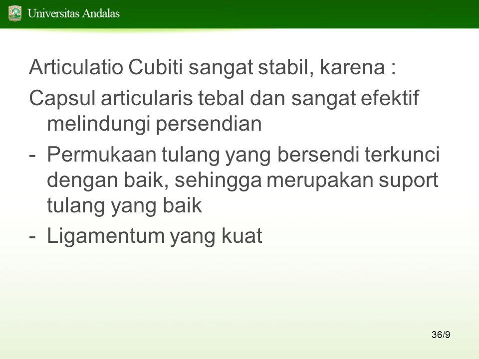 Articulatio Cubiti sangat stabil, karena :
