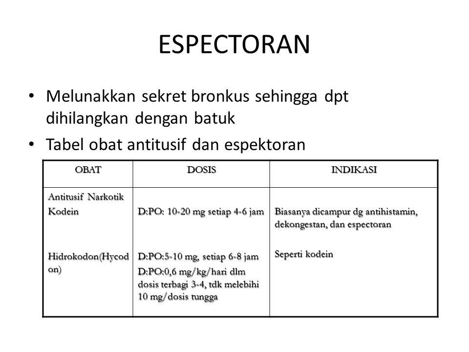 ESPECTORAN Melunakkan sekret bronkus sehingga dpt dihilangkan dengan batuk. Tabel obat antitusif dan espektoran.