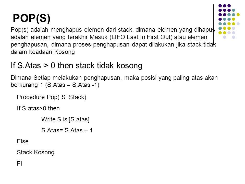 POP(S) If S.Atas > 0 then stack tidak kosong