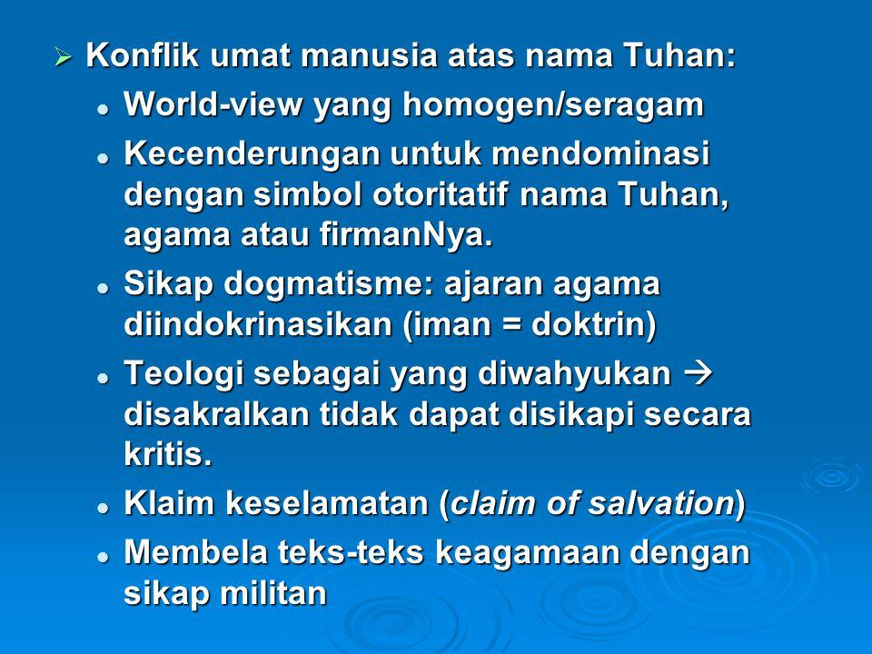 Konflik umat manusia atas nama Tuhan: