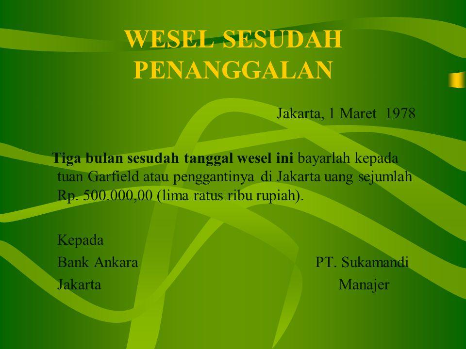 WESEL SESUDAH PENANGGALAN