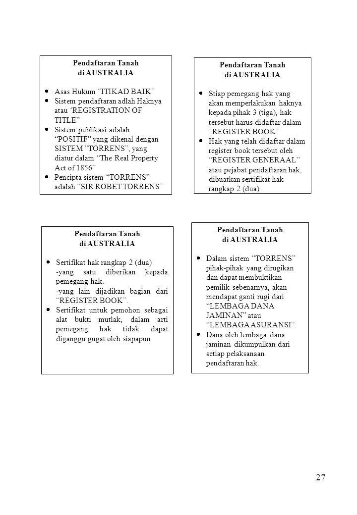 Pendaftaran Tanah di AUSTRALIA. Asas Hukum ITIKAD BAIK Sistem pendaftaran adlah Haknya atau 'REGISTRATION OF TITLE