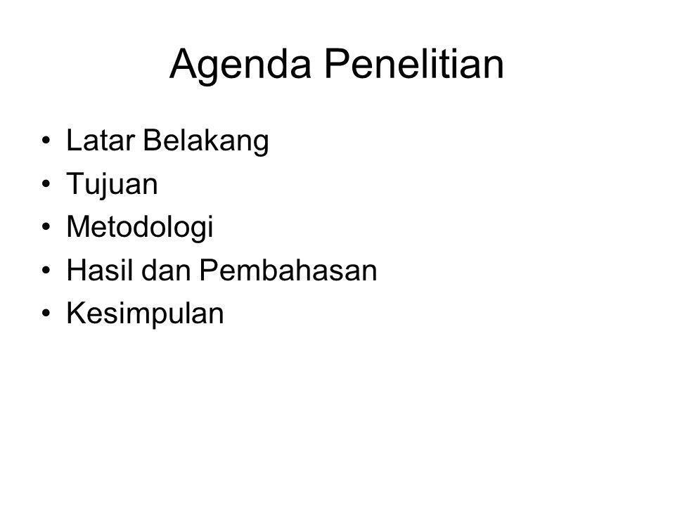 Agenda Penelitian Latar Belakang Tujuan Metodologi