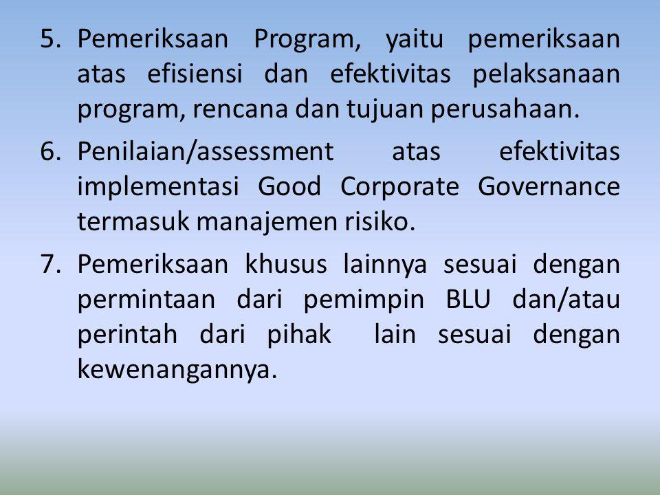 Pemeriksaan Program, yaitu pemeriksaan atas efisiensi dan efektivitas pelaksanaan program, rencana dan tujuan perusahaan.