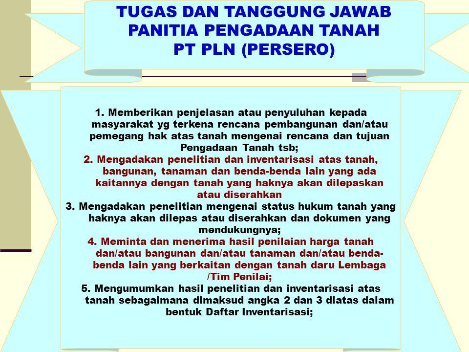 TUGAS DAN TANGGUNG JAWAB PANITIA PENGADAAN TANAH