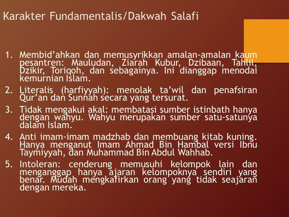 Karakter Fundamentalis/Dakwah Salafi