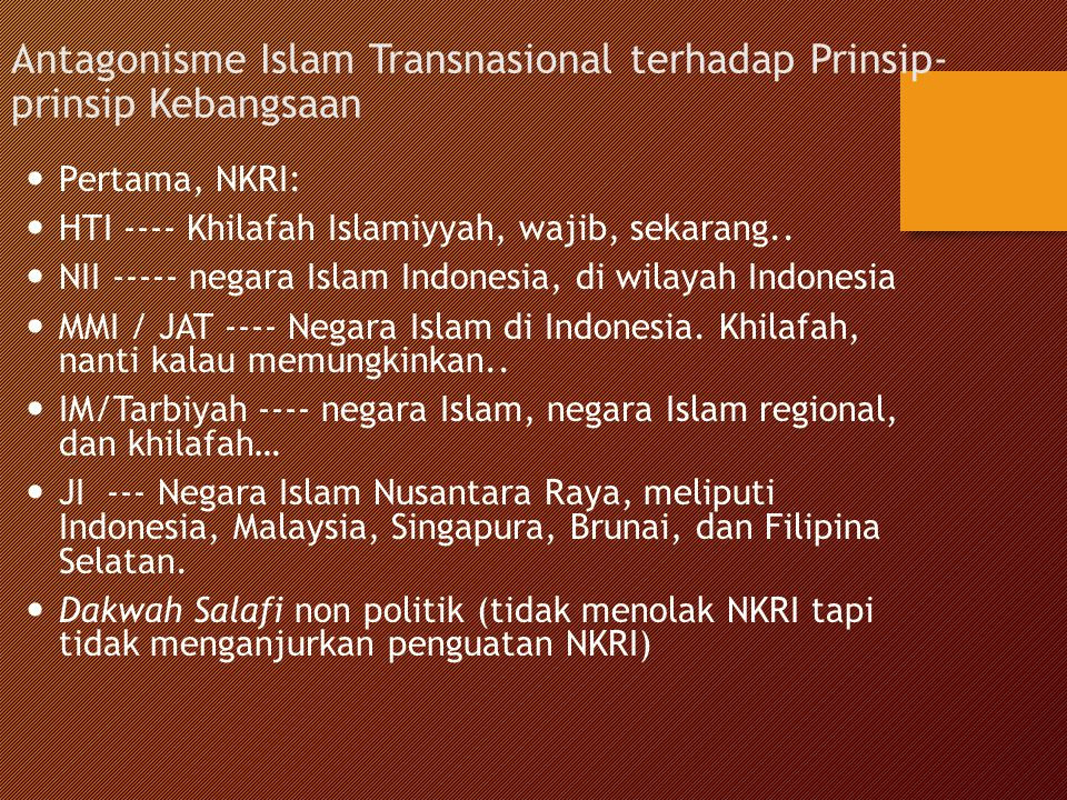 Antagonisme Islam Transnasional terhadap Prinsip-prinsip Kebangsaan