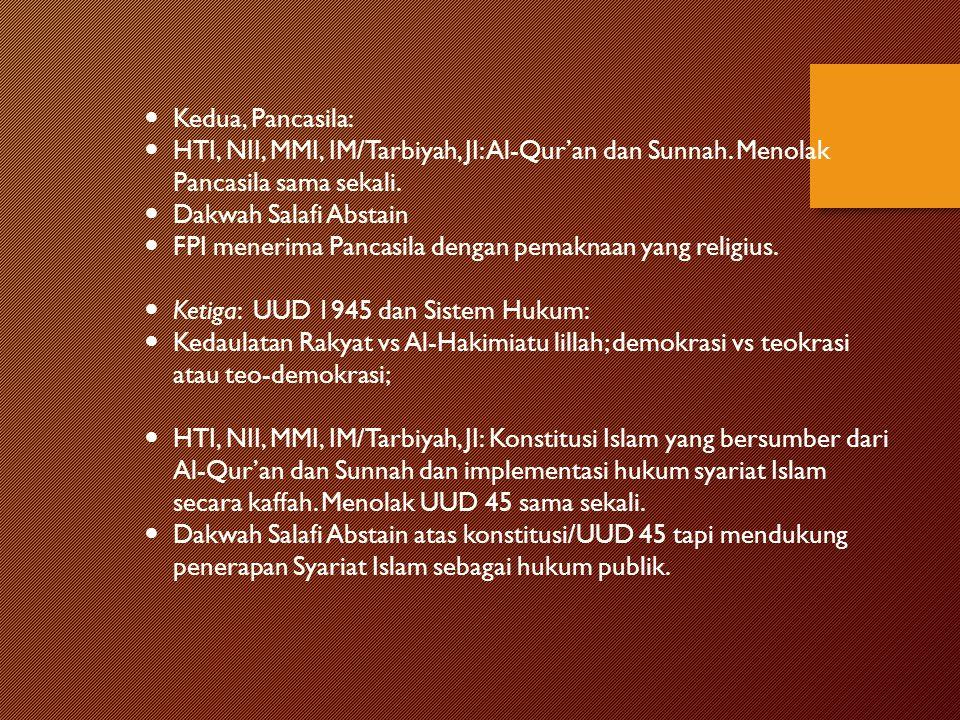 Kedua, Pancasila: HTI, NII, MMI, IM/Tarbiyah, JI: Al-Qur'an dan Sunnah. Menolak Pancasila sama sekali.