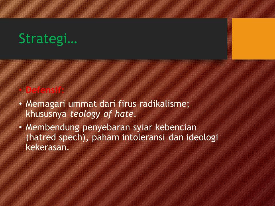 Strategi… Defensif: Memagari ummat dari firus radikalisme; khususnya teology of hate.