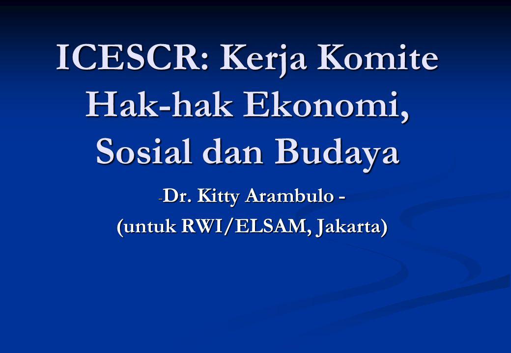 ICESCR: Kerja Komite Hak-hak Ekonomi, Sosial dan Budaya