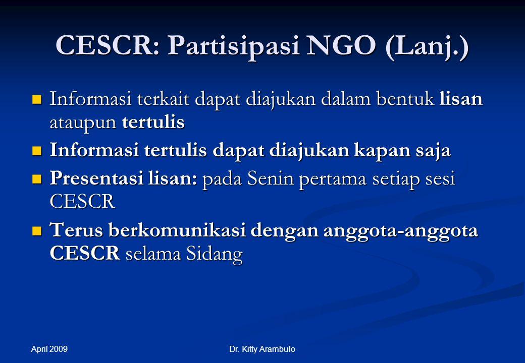 CESCR: Partisipasi NGO (Lanj.)