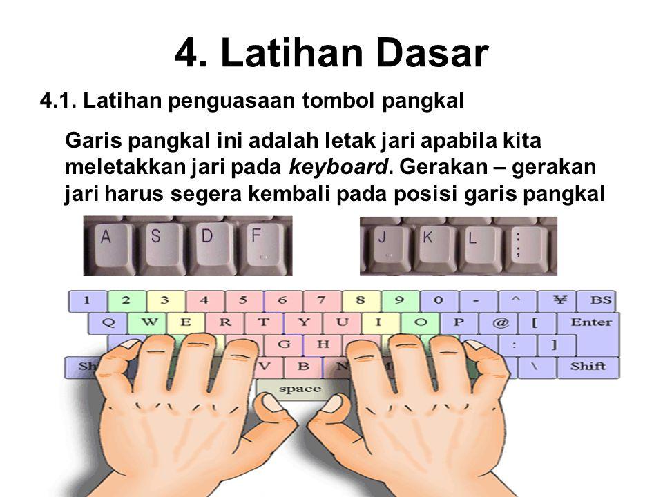 4. Latihan Dasar 4.1. Latihan penguasaan tombol pangkal
