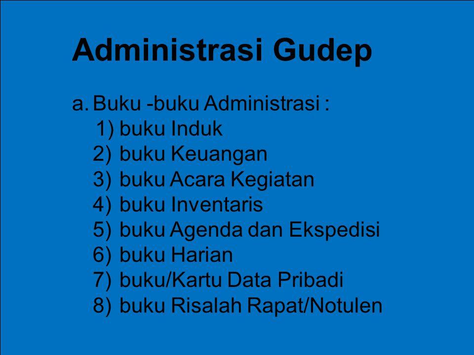Administrasi Gudep Buku -buku Administrasi : 1) buku Induk