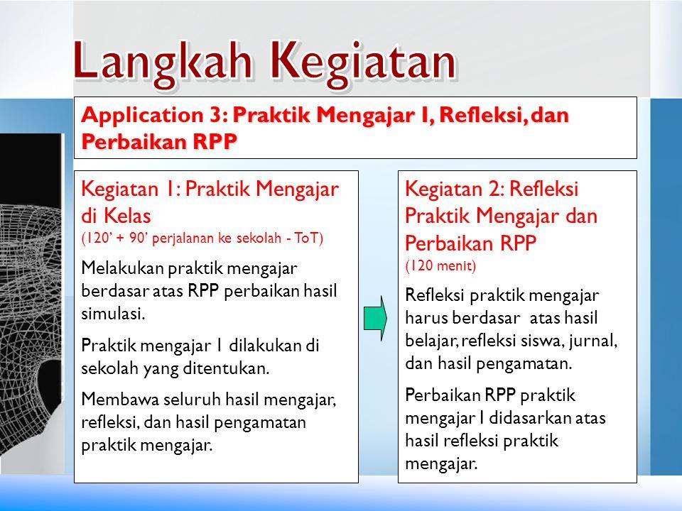 Langkah Kegiatan Application 3: Praktik Mengajar I, Refleksi, dan Perbaikan RPP. Kegiatan 1: Praktik Mengajar di Kelas.