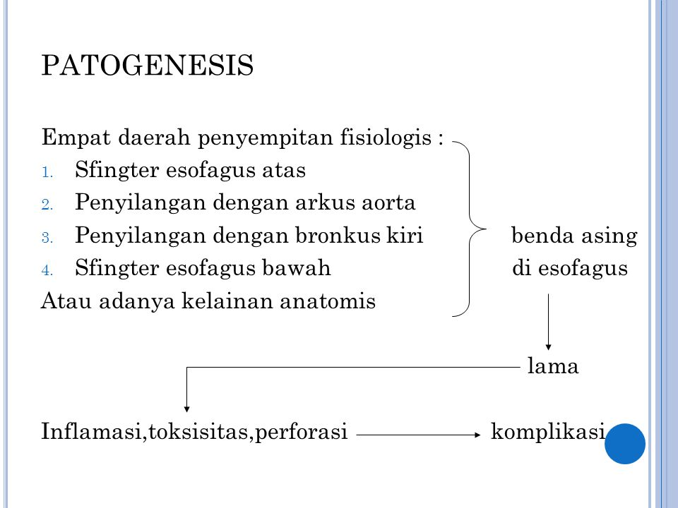 PATOGENESIS Empat daerah penyempitan fisiologis :