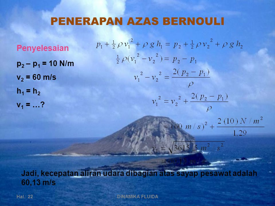 PENERAPAN AZAS BERNOULI