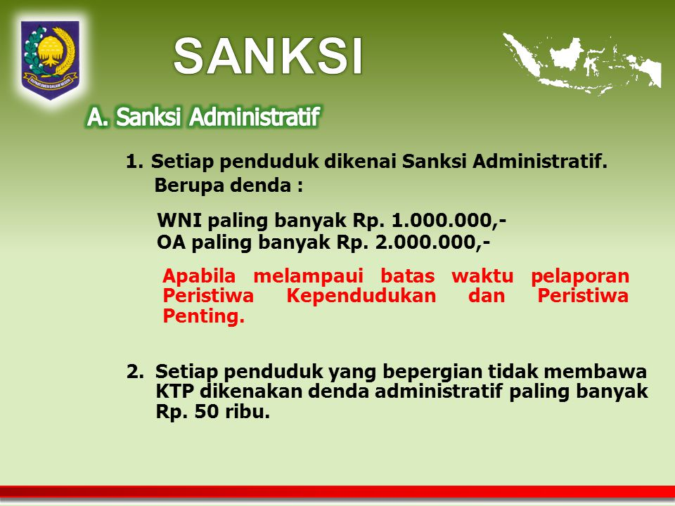 SANKSI A. Sanksi Administratif