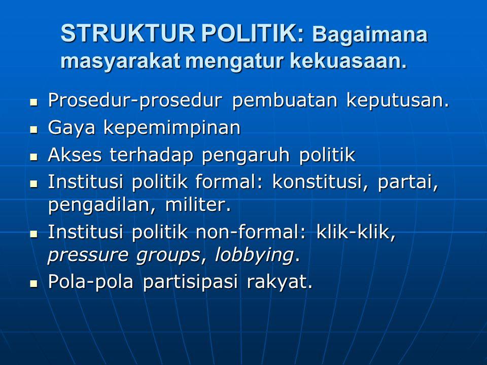 STRUKTUR POLITIK: Bagaimana masyarakat mengatur kekuasaan.