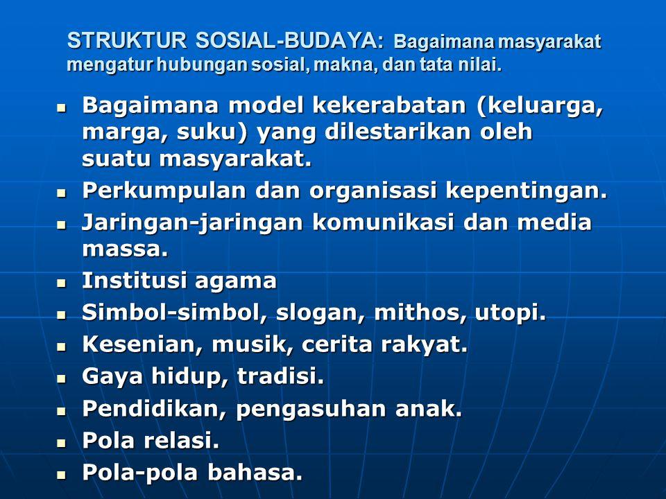 STRUKTUR SOSIAL-BUDAYA: Bagaimana masyarakat mengatur hubungan sosial, makna, dan tata nilai.