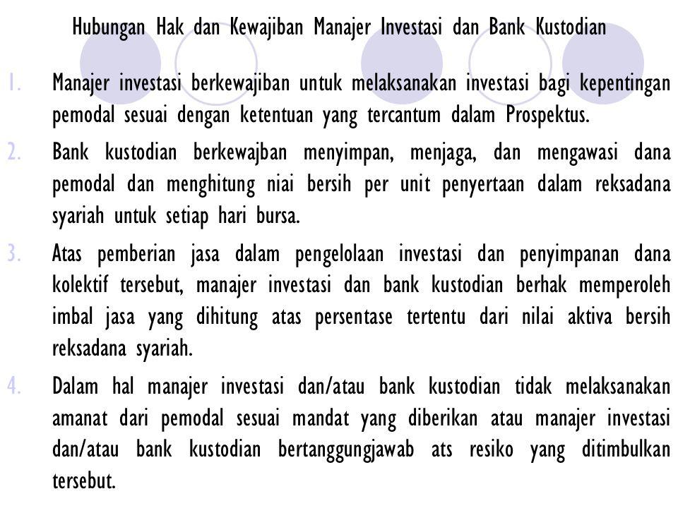 Hubungan Hak dan Kewajiban Manajer Investasi dan Bank Kustodian