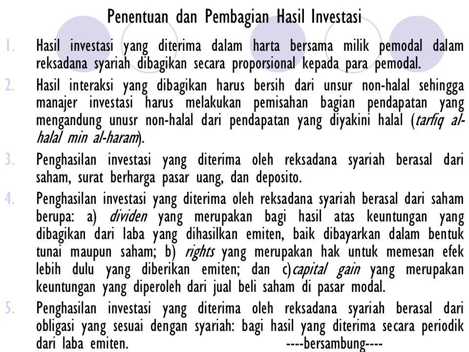 Penentuan dan Pembagian Hasil Investasi