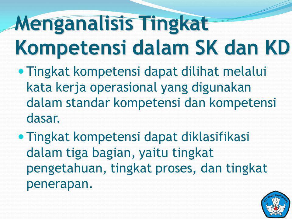 Menganalisis Tingkat Kompetensi dalam SK dan KD