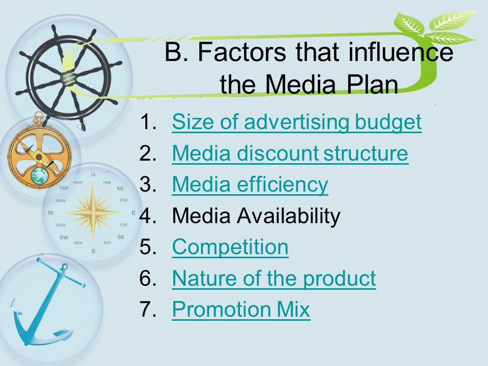 B. Factors that influence the Media Plan