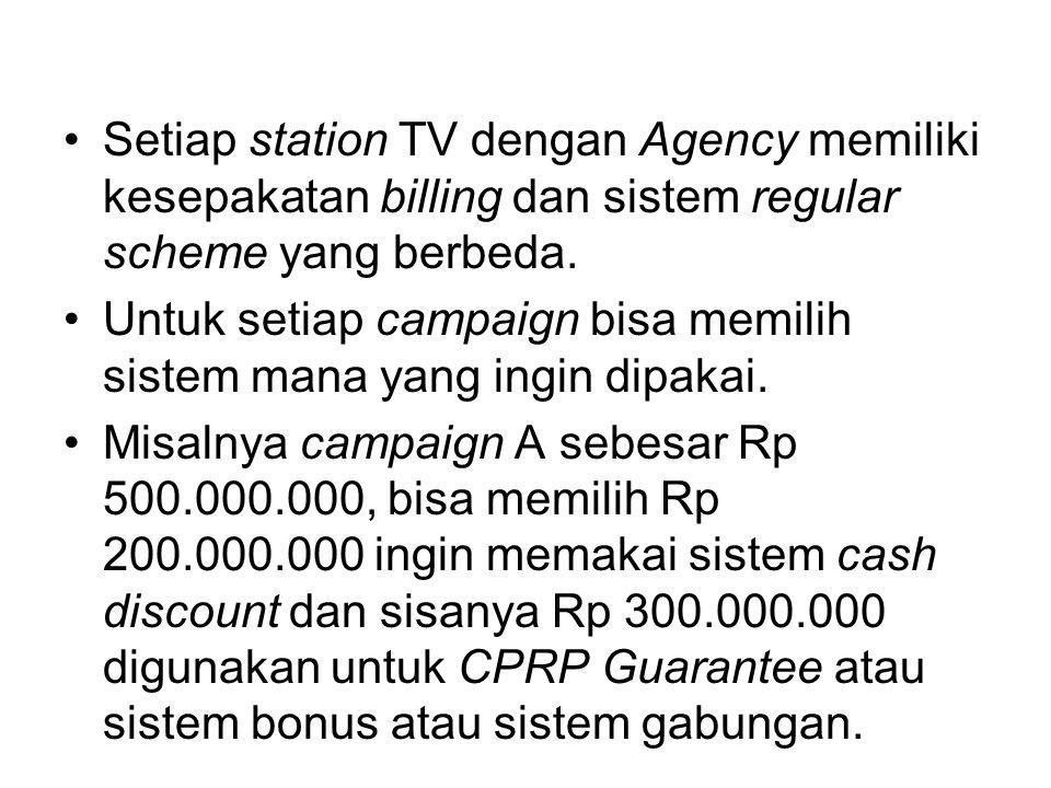 Setiap station TV dengan Agency memiliki kesepakatan billing dan sistem regular scheme yang berbeda.
