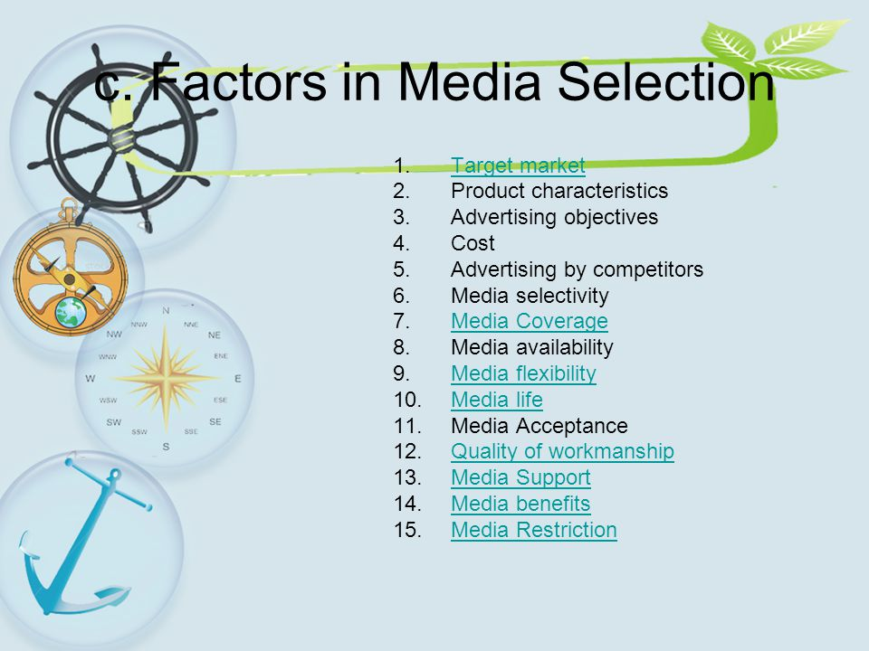 c. Factors in Media Selection