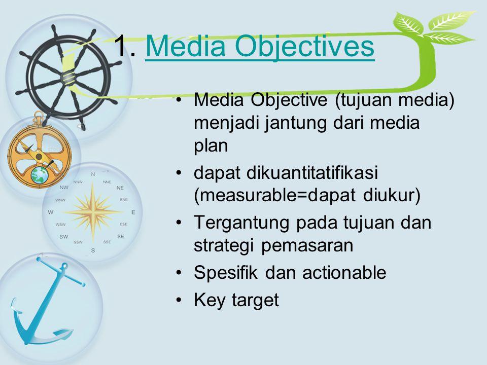1. Media Objectives Media Objective (tujuan media) menjadi jantung dari media plan. dapat dikuantitatifikasi (measurable=dapat diukur)