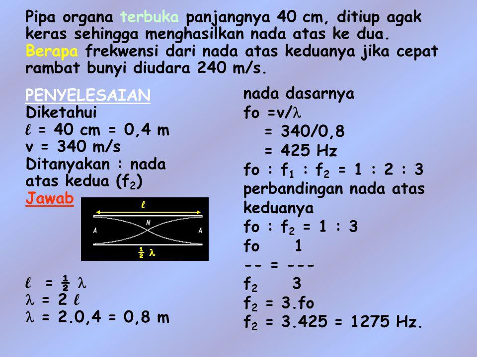 perbandingan nada atas keduanya fo : f2 = 1 : 3 fo 1 -- = --- f2 3
