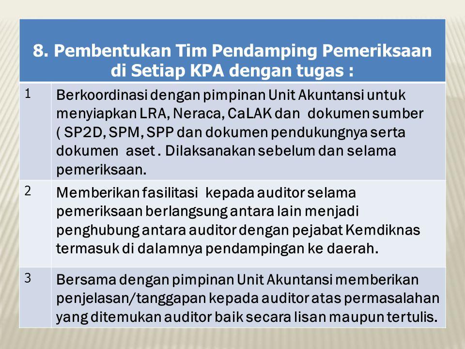 8. Pembentukan Tim Pendamping Pemeriksaan di Setiap KPA dengan tugas :